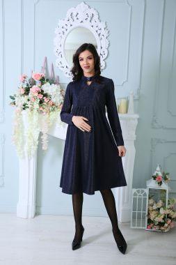 Платье для беременных и кормящих Тёмно-Синий с люрексом 525 Стильный животик