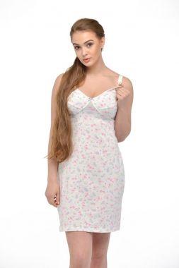 Сорочка для беременных и кормящих  трикотаж айвори  в цветочек 24124 Россия