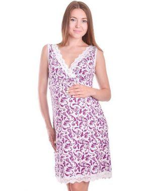 Сорочка для беременных и кормящих Светло-Серый с кружевом с сиреневым узором 24143 УКРАИНА