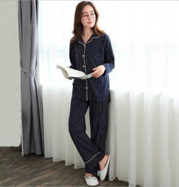 Пижама для беременных и кормящих Тёмно-Синий в белую полоску 1711 Гуанчжоу