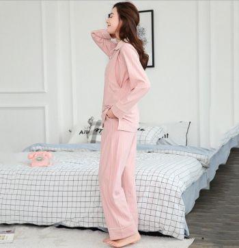 Пижама для беременных и кормящих розовый в полосочку 1711 Гуанчжоу
