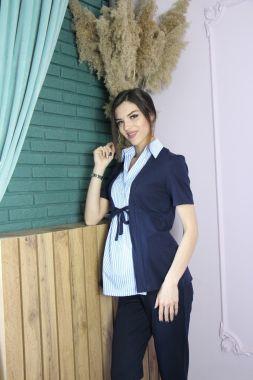 Блузка кор рукав. вставка в полосочку Синий 410 Стильный животик