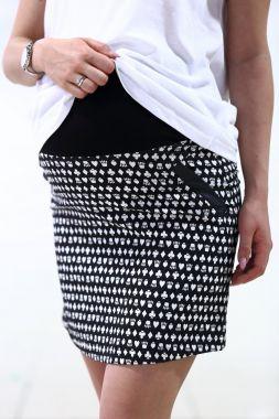 Юбка с рисунком Чёрн-Белый 2570 Fujin Турция