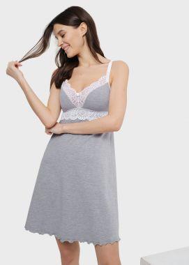 Сорочка для беременных и кормящих с кружевом Светло-Серый 103155 Россия