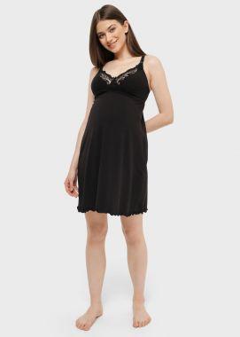 Сорочка для беременных и кормящих с кружевом Чёрный 104041 Россия