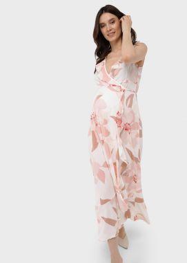 Платье для беременных и кормящих с воланом на запах миди вискоза пудра с цветами 103708 Россия