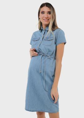 Платье для беременных и кормящих джинсовое голубой 103081 Россия