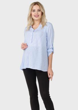 Блузка для беременных и кормящих штапель голубой в полосочку 103123 Россия