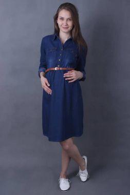 Платье Джинсовый 3/4 рукав Тёмно-Синий 112 VILENA
