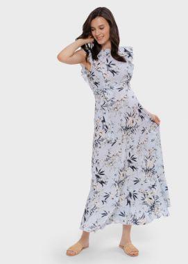 Платье для беременных и кормящих вискоза длинное Светло голубой в цветочек 103715 Россия