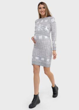 Платье для беременных и кормящих трикотаж вязанное Светло-Серый меланж Снежинка 104545 Россия