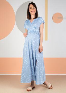Платье для беременных и кормящих трикотаж вискоза длинное голубой в белый горох 104949 Россия
