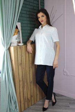 Рубашка. с воланом офис Белый 4028 Стильный животик