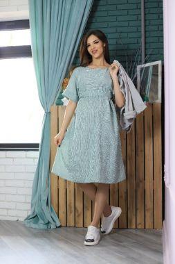 Платье для беременных и кормящих фисташковый в полосочку 545 Стильный животик