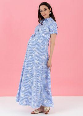 Платье хлопок с вискозой длинное в цветочек голубой в белую полосочку 111037 Россия