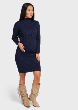 Платье для беременных и кормящих трикотаж вязанное Тёмно-Синий 104065 Россия