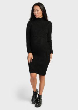 Платье для беременных и кормящих трикотаж вязанное Чёрный 104065 Россия