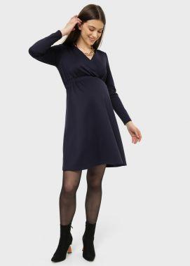 Платье для беременных и кормящих трикотаж на запах Тёмно-Синий 104275 Россия
