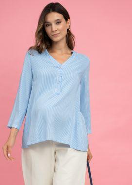 Блузка для беременных.штапель белый с голубой полосочкой 130003 Россия